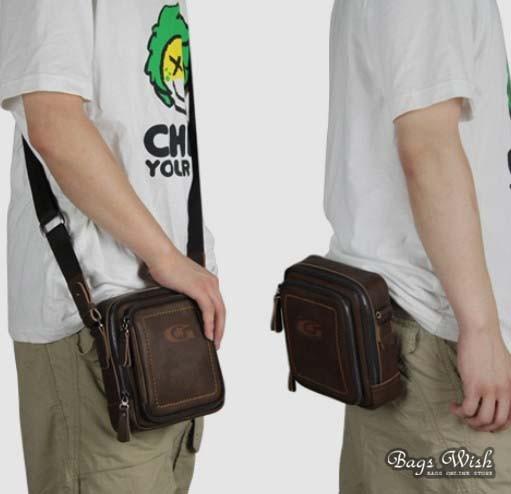 Small leather messenger bag, coffee waist pouch bag - BagsWish
