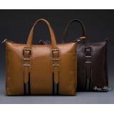 Fine leather briefcase orange, coffee leather bag briefcase