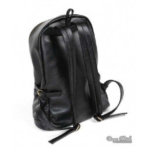 black PU leather book bag