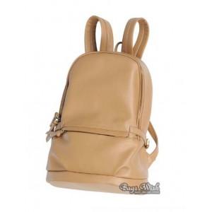 khaki PU leather book bag