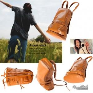 brown PU leather book bag