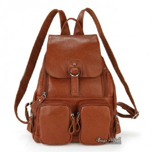Cowhide leather backpack women, brown leather bookbag