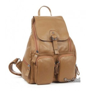 khaki Cowhide leather backpack women