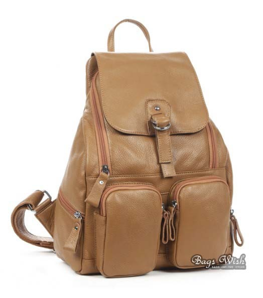 Cowhide leather backpack women, brown leather bookbag - BagsWish