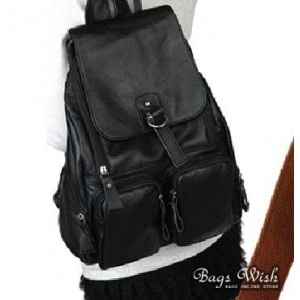 black Cowhide leather backpack