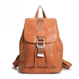 Leather ladies backpack, brown leather rucksack backpack