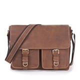 Leather attache briefcase khaki, coffee leather bag for men