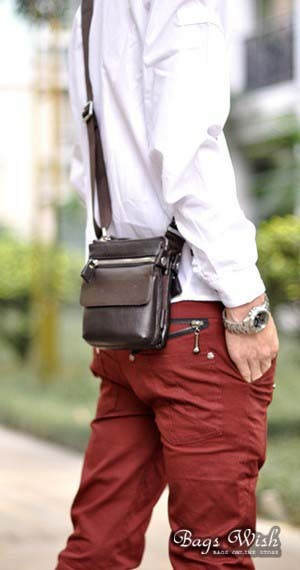 Small leather messenger bag for men, brown sports messenger bag ...