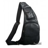 One shoulder strap backpack black, brown genuine leather shoulder backpack