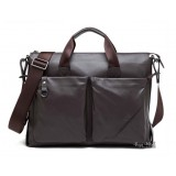 Laptop briefcases men, coffee leather laptop bag 14