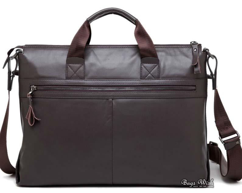 Laptop briefcases men, coffee leather laptop bag 14 - BagsWish
