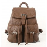 Leather school backpack, brown leather strap backpack