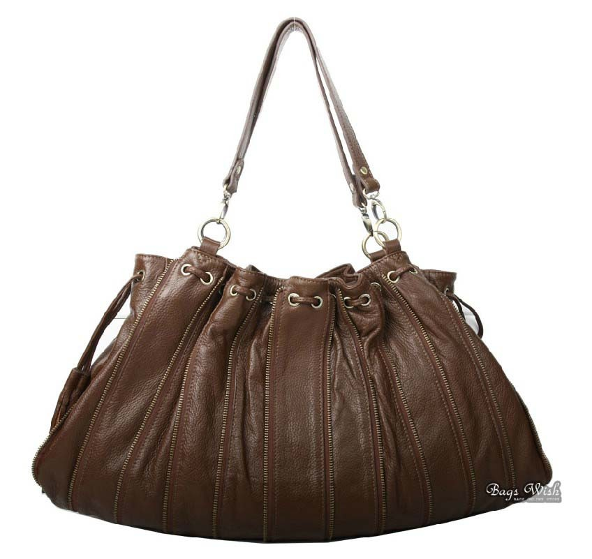 Leather shoulder handbag, brown soft leather hobo handbag - BagsWish