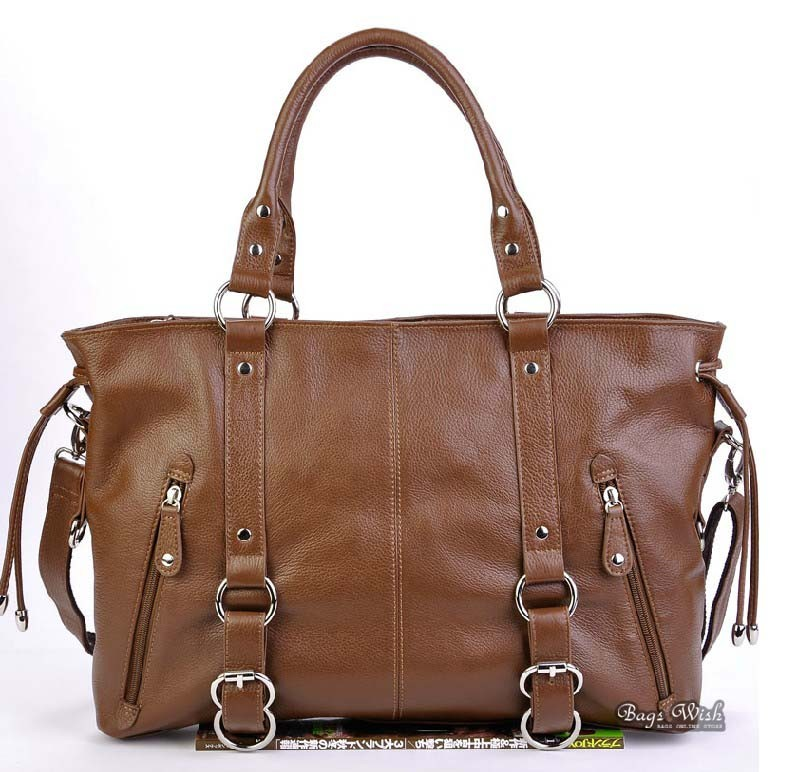 Leather satchel handbag brown, black leather tote bag - BagsWish