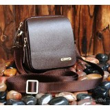 Vertical messenger bag, small leather shoulder bag