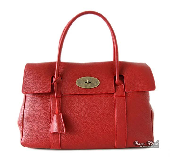 Red leather handbag, soft leather handbag - BagsWish