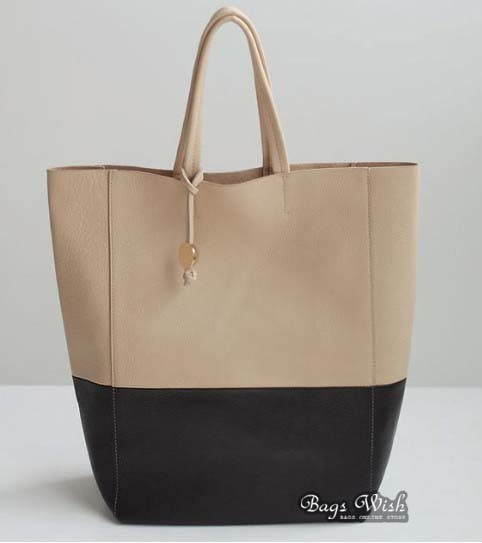 Women Leather Tote Bag Beige Large