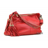 Leather shoulder handbag, leather hobo bag