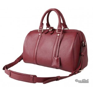 red classic leather messenger bag