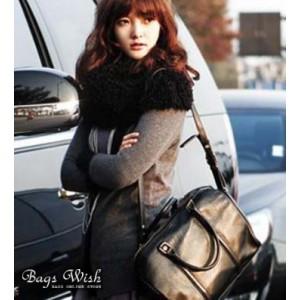 black classic leather messenger bag