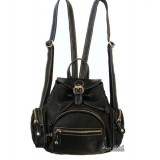 Leather womens backpack, small black leather backpack