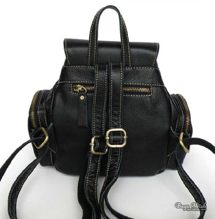 Leather Womens Backpack Small Black Leather Backpack