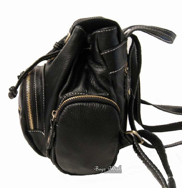 Leather womens backpack, small black leather backpack - BagsWish