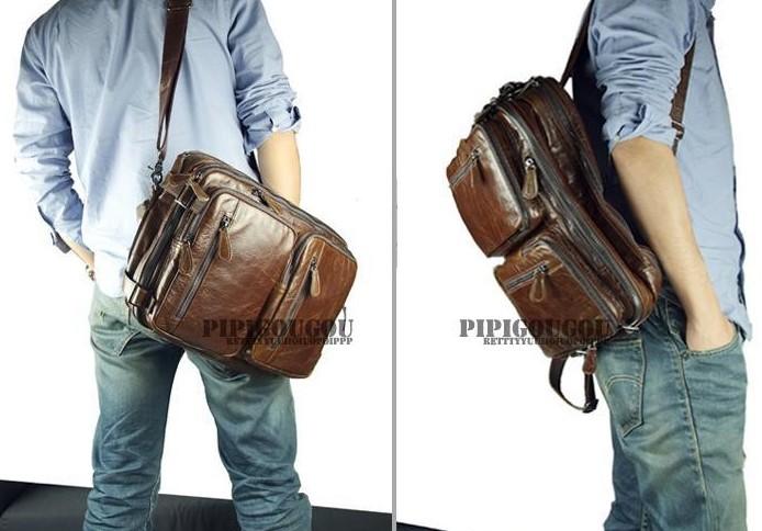 Laptop Backpack Mens Leather Briefcase Messenger Bag