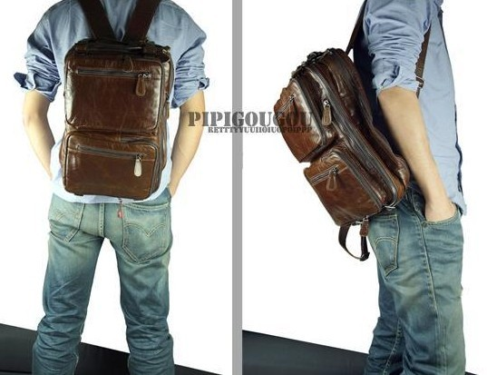 Leather briefcase messenger bag, leather 14 laptop backpack - BagsWish