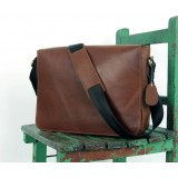 Leather messenger bags men, coffee leather flap over briefcase
