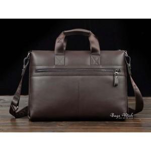 Cowhide laptop bag briefcase coffee