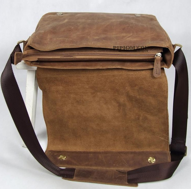 Leather messenger bags men, coffee leather flap over briefcase ...