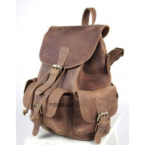 coffee Vintage leather backpack
