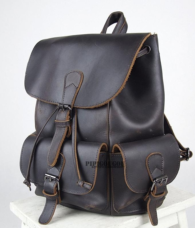 Black Vintage Leather Backpack Womens