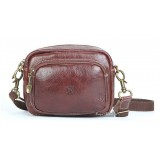 Distressed leather messenger bag, coffee waist belt bag