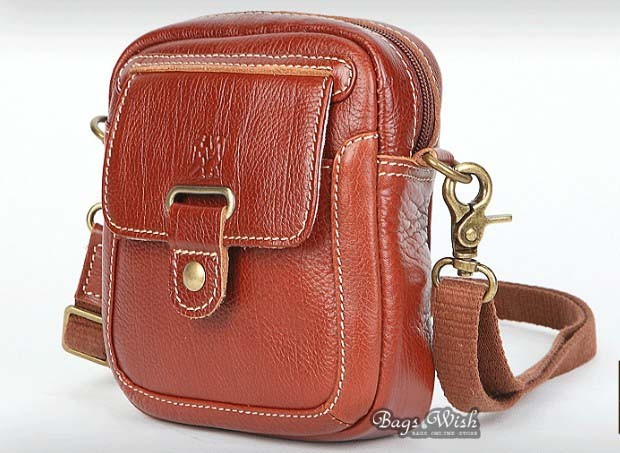 Ladies leather bag, brown ladies leather messenger bag - BagsWish