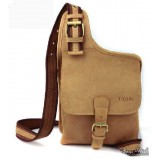 Messenger bag khaki, cowhide crossover sling pack