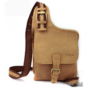 Messenger bag khaki, cowhide crossover sling pack