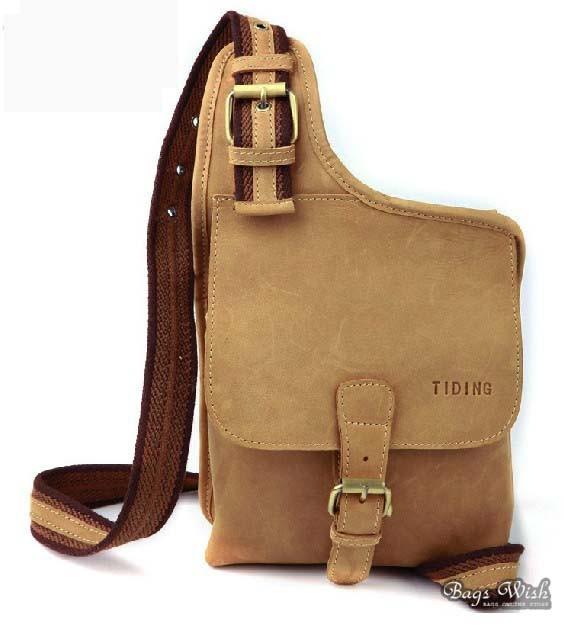 Messenger bag khaki, cowhide crossover sling pack - BagsWish