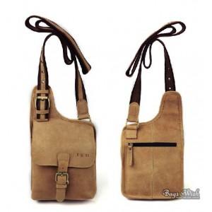 cowhide crossover sling pack