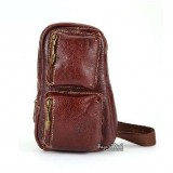 Leather single shoulder backpack, brown single strap backpack
