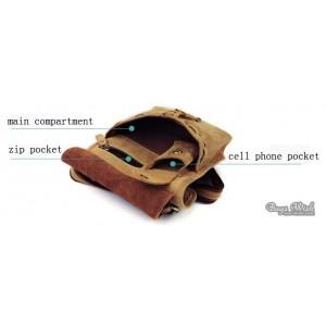 cowhide Messenger bag khaki