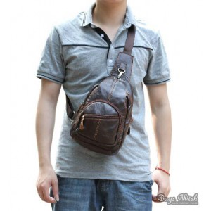 Cowhide side backpack