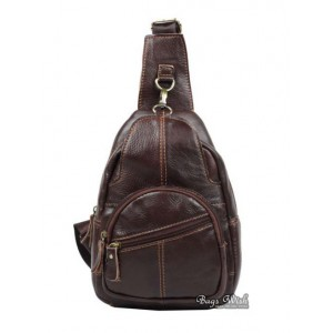 Cowhide side backpack, coffee single strap back pack