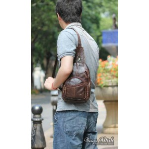 coffee Cowhide side backpack