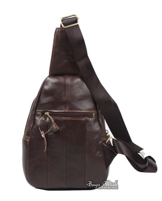 Cowhide side backpack, coffee single strap back pack - BagsWish