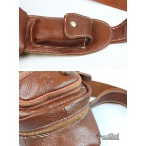 brown side strap backpack