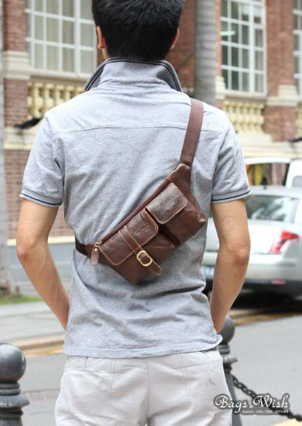 Single Strap Bag Coffee Black Waist Pack For Men Bagswish