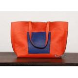 Leather travel handbag, orange shoulder bags leather