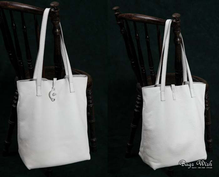 Soft leather tote, leather shopping bag - BagsWish